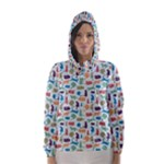 Blue Colorful Cats Silhouettes Pattern Hooded Wind Breaker (Women)