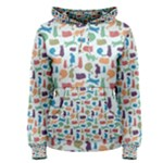 Blue Colorful Cats Silhouettes Pattern Women s Pullover Hoodie