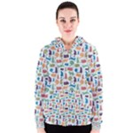 Blue Colorful Cats Silhouettes Pattern Women s Zipper Hoodie