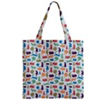 Blue Colorful Cats Silhouettes Pattern Zipper Grocery Tote Bag