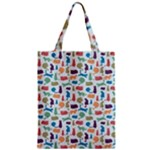 Blue Colorful Cats Silhouettes Pattern Zipper Classic Tote Bag