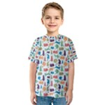 Blue Colorful Cats Silhouettes Pattern Kids  Sport Mesh Tee