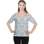 Blue Colorful Cats Silhouettes Pattern Women s Cutout Shoulder Tee