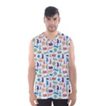 Blue Colorful Cats Silhouettes Pattern Men s Basketball Tank Top