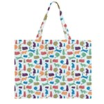 Blue Colorful Cats Silhouettes Pattern Zipper Large Tote Bag