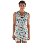 Blue Colorful Cats Silhouettes Pattern Wrap Front Bodycon Dress
