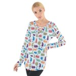 Blue Colorful Cats Silhouettes Pattern Women s Tie Up Tee