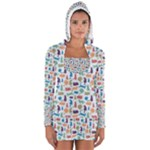 Blue Colorful Cats Silhouettes Pattern Women s Long Sleeve Hooded T-shirt