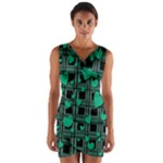 Green love Wrap Front Bodycon Dress