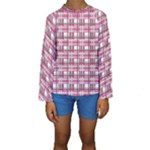 Pink plaid pattern Kids  Long Sleeve Swimwear