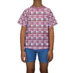 Pink plaid pattern Kids  Short Sleeve Swimwear