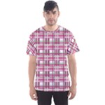 Pink plaid pattern Men s Sport Mesh Tee