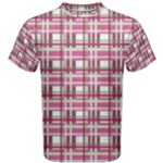 Pink plaid pattern Men s Cotton Tee