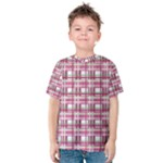 Pink plaid pattern Kids  Cotton Tee