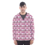 Pink plaid pattern Hooded Wind Breaker (Men)