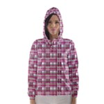 Pink plaid pattern Hooded Wind Breaker (Women)