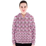 Pink plaid pattern Women s Zipper Hoodie