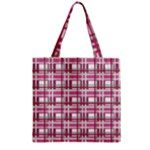 Pink plaid pattern Zipper Grocery Tote Bag