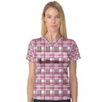 Pink plaid pattern Women s V-Neck Sport Mesh Tee