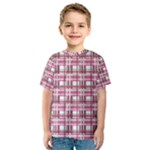 Pink plaid pattern Kids  Sport Mesh Tee