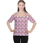 Pink plaid pattern Women s Cutout Shoulder Tee