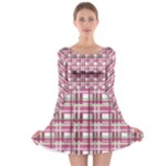 Pink plaid pattern Long Sleeve Skater Dress
