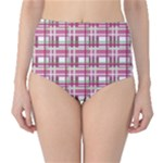 Pink plaid pattern High-Waist Bikini Bottoms