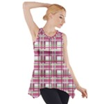 Pink plaid pattern Side Drop Tank Tunic