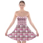 Pink plaid pattern Strapless Bra Top Dress