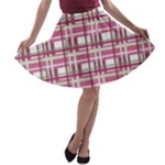 Pink plaid pattern A-line Skater Skirt