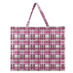 Pink plaid pattern Zipper Large Tote Bag