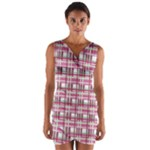 Pink plaid pattern Wrap Front Bodycon Dress