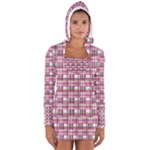Pink plaid pattern Women s Long Sleeve Hooded T-shirt
