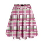 Pink plaid pattern High Waist Skirt