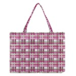 Pink plaid pattern Medium Tote Bag