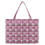 Pink plaid pattern Medium Zipper Tote Bag