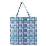 Blue plaid pattern Grocery Tote Bag