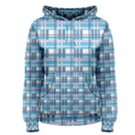 Blue plaid pattern Women s Pullover Hoodie