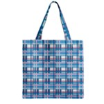 Blue plaid pattern Zipper Grocery Tote Bag