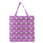 Purple plaid pattern Grocery Tote Bag