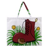 Boot in the grass Zipper Large Tote Bag