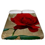 Red Rose Art Fitted Sheet (Queen Size)