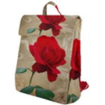 Red Rose Art Flap Top Backpack