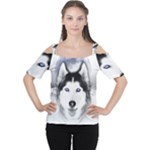 Wolf Moon Mountains Cutout Shoulder Tee