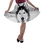 Wolf Moon Mountains A-line Skater Skirt
