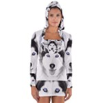 Wolf Moon Mountains Long Sleeve Hooded T-shirt