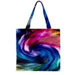 Water Paint Zipper Grocery Tote Bag