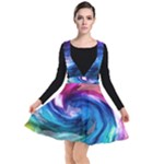 Water Paint Plunge Pinafore Dress