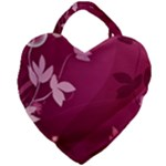 Pink Flower Art Giant Heart Shaped Tote