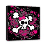 Girly Skull & Crossbones Mini Canvas 6  x 6  (Stretched)